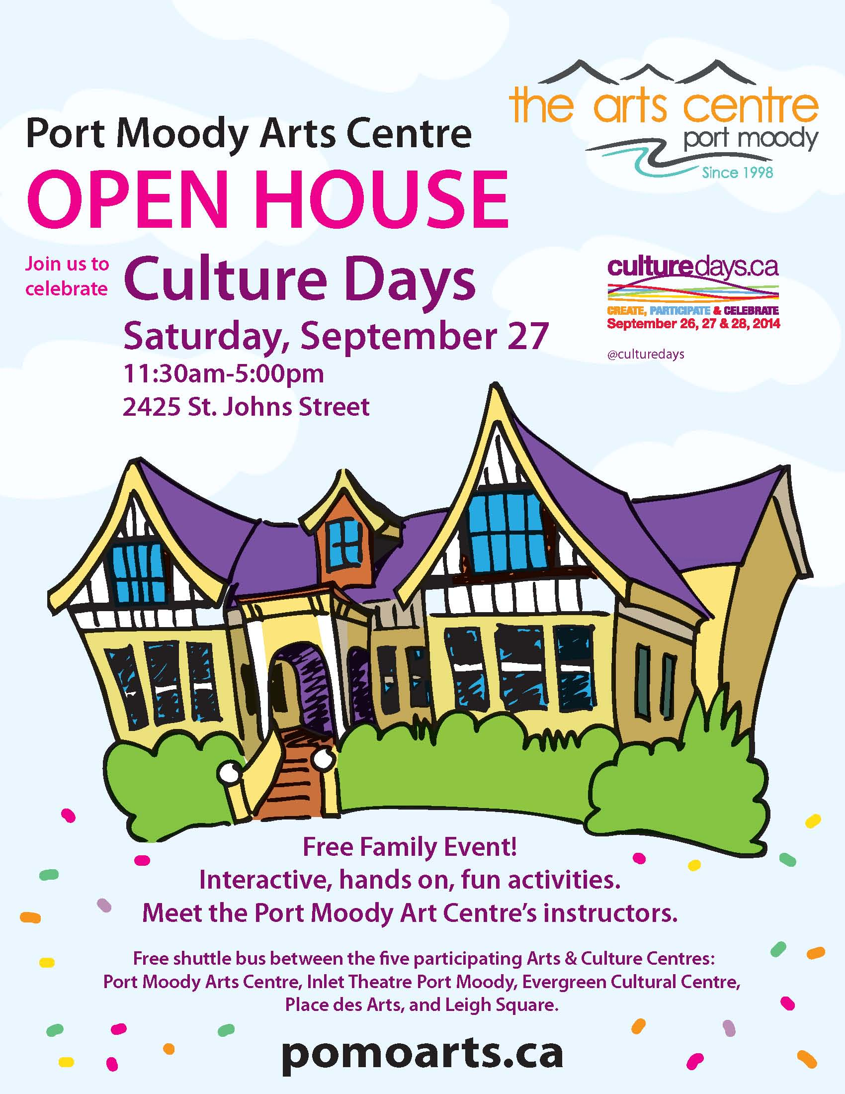 Culture Days with the Port Moody Arts Centre on Saturday, September 27