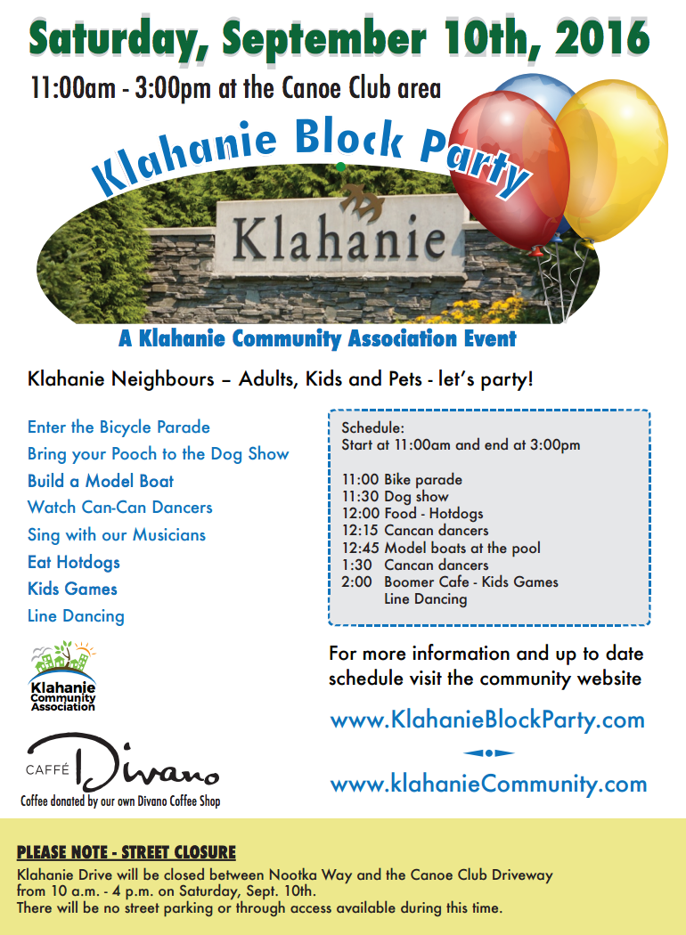 Klahanie Block Party! (September 10th)